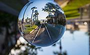 Crystal ball, railroad tracks, Galveston, Texas,