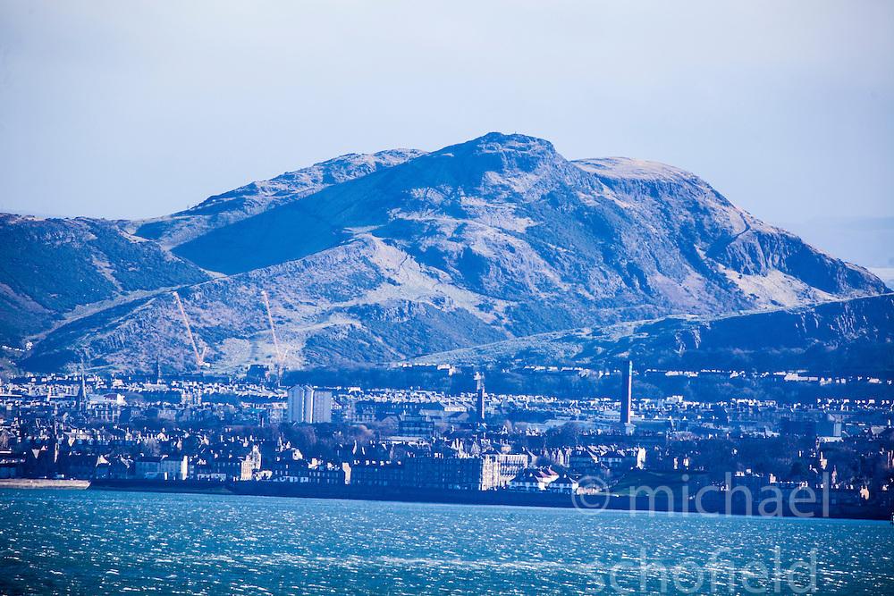 Arthur's Seat. Edinburgh as seen from the A921 near Burntisland, Fife.