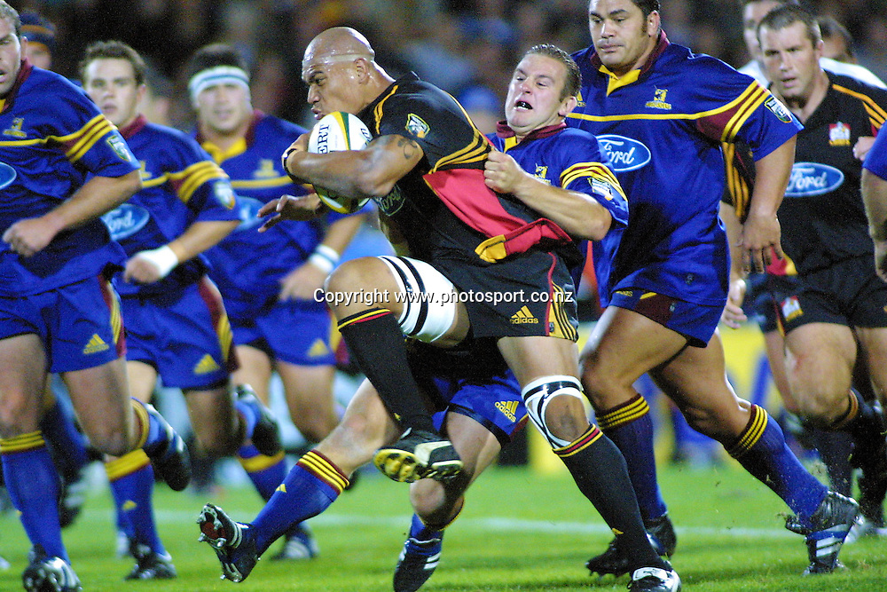 Koula Tukino in action during the rugby union Super 12 match between the Chiefs and the Highlanders, 30 March, 2001 at Rotorua International Stadium. Photo: Sandra Teddy/PHOTOSPORT *** Local Caption ***
