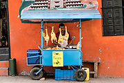 A Mexican food vendor sells fresh chickens outside the central Market in Papantla, Veracruz, Mexico.
