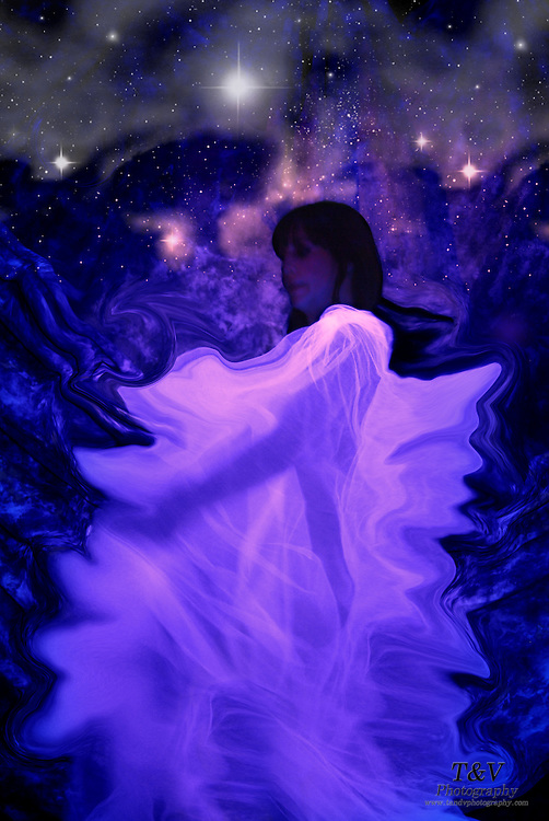 A woman wearing a glowing veil dances amongst the stars.Black light