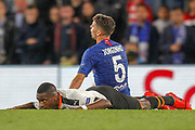 YELLOW CARD Valencia midfielder Geoffrey Kondogbia (6) fouled by Chelsea midfielder Jorginho (5) during the Champions League match between Chelsea and Valencia CF at Stamford Bridge, London, England on 17 September 2019.