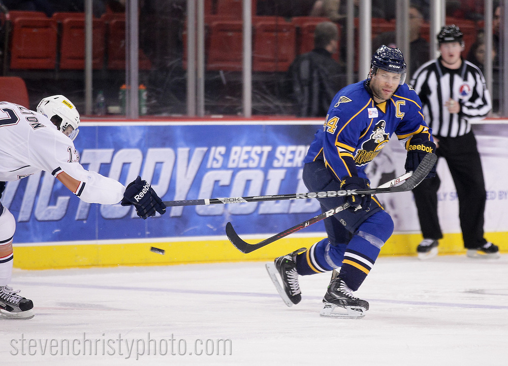 December 11, 2012: The Oklahoma City Barons play the Peoria Rivermen in an American Hockey League game at the Cox Convention Center in Oklahoma City.