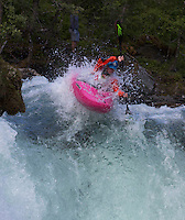 VOSS, 2014626; Ekstremesportsweek in city of Voss in Western Norway is hosting a full week of different extreme sports ranging from skateboarding, long boarding, skydiving, rafting, paragliding and river kayaking. This is a photo from the downhill kayaking competition at Myrkdalselva in Myrkdalen. PHOTO by TOM HANSEN