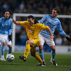 MANCHESTER, ENGLAND - Tuesday, December 18, 2007: Manchester City's Elano Blumer and Tottenham Hotspur's Steed Malbranque during the League Cup Quarter Final match at the City of Manchester Stadium. (Photo by David Rawcliffe/Propaganda)