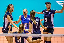 22-08-2017 NED: World Qualifications Netherlands - Greece, Rotterdam<br /> Anthi Vasilantonaki #11 of Greece, Areta Konomi #10 of Greece, .Evangelia Merteki #9 of Greece