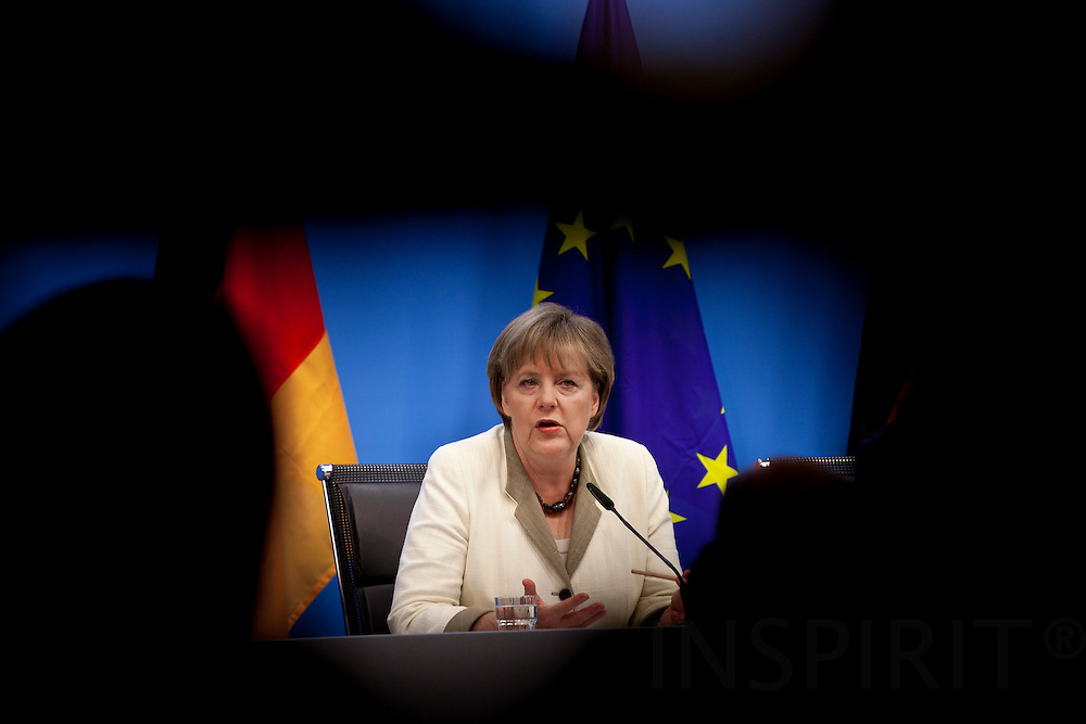 Angela Merkel, Germany's chancellor, speaks during a news conference after attending the summit of  EUROZONE leaders in Brussels, Belgium, on Thursday, July 21, 2011. PHOTO: ERIK LUNTANG / INSPIRIT Photo.