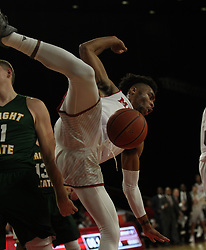 November 14, 2017 - Oxford, Ohio, U.S - Miami (Oh) Redhawks guard Jalen Adaway (3) head for a hard landing on Tue Nov 14, 2017. During play with Wright State Raiders at home in Oxford,Ohio. As the Redhawks go no to win in Overtime 73 to 67. (Credit Image: © Ernest Coleman via ZUMA Wire)