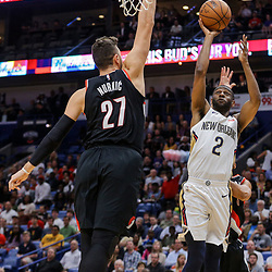 Mar 27, 2018; New Orleans, LA, USA; New Orleans Pelicans guard Ian Clark (2) shoots over Portland Trail Blazers center Jusuf Nurkic (27) during the first quarter at the Smoothie King Center. Mandatory Credit: Derick E. Hingle-USA TODAY Sports