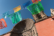 Paper banners decorate the Church of Our Lady of Health or  Nuestra Señora de la Salud Church in San Miguel de Allende, Guanajuato, Mexico.