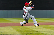 Luis Jimenez #18 of the Los Angeles Angels makes a running throw during a game against the Minnesota Twins on April 16, 2013 at Target Field in Minneapolis, Minnesota.  The Twins defeated the Angels 8 to 6.  Photo: Ben Krause