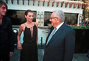 Kate Moss & Henry Kissinger at the Talk magazine launch. New York. 2 September 1999.<br />© Copyright Photograph by Dafydd Jones<br />66 Stockwell Park Rd. London SW9 0DA<br />Tel 0171 733 0108