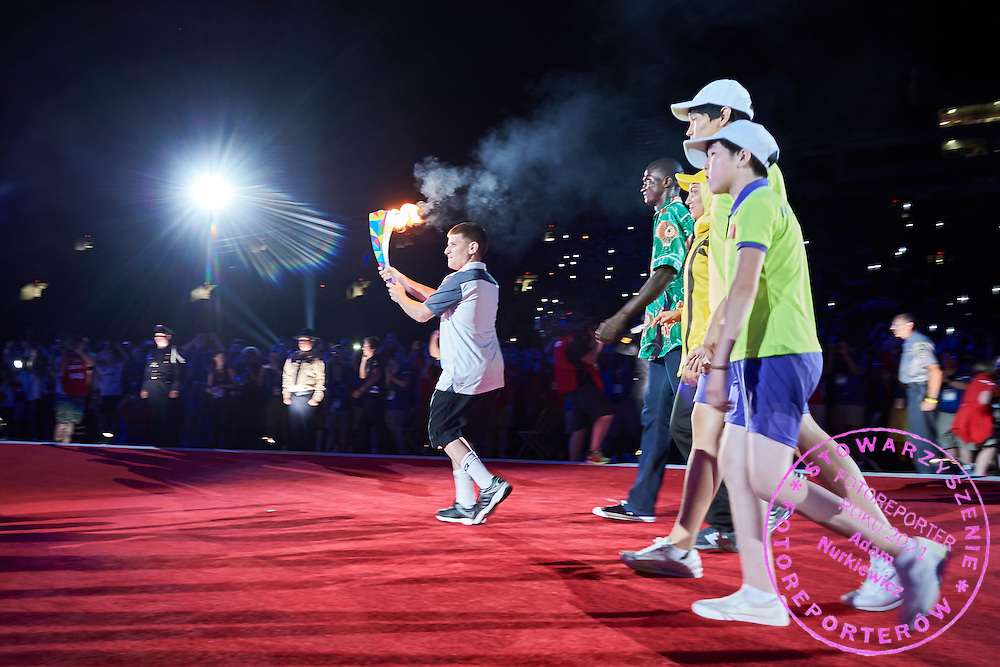 Torch Run on the last stage during opening ceremony of the Special Olympics World Games Los Angeles 2015 at the Los Angeles Coliseum Stadium on July 25, 2015 in Los Angeles, USA.<br /> USA, Los Angeles, July 25, 2015<br /> <br /> Picture also available in RAW (NEF) or TIFF format on special request.<br /> <br /> For editorial use only. Any commercial or promotional use requires permission.<br /> <br /> Adam Nurkiewicz declares that he has no rights to the image of people at the photographs of his authorship.<br /> <br /> Mandatory credit:<br /> Photo by &copy; Adam Nurkiewicz / Mediasport