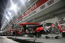 Motorsports / Formula 1: World Championship 2010, GP of Singapore, technical detail, Vodafone McLaren Mercedes, box, pit lane