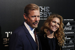 Denmark's legendary goalkeeper Peter Schmeichel and his wife arriving on the Green Carpet at the Best FIFA Football Awards at Palladium Theater, London, UK, on October 23, 2017. Photo by Henri Szwarc/ABACAPRESS.COM