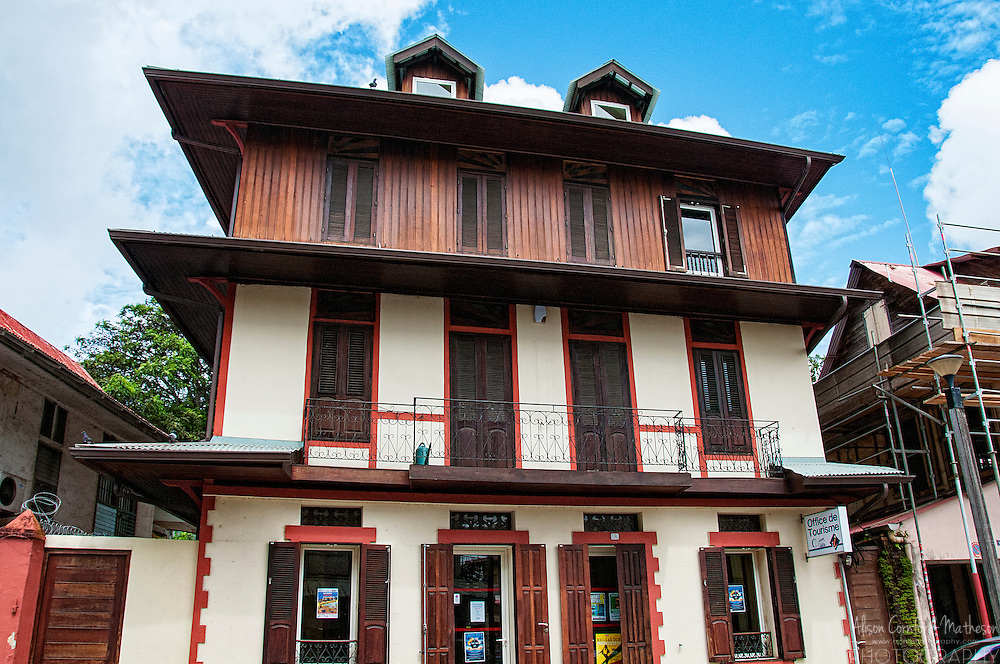 Traditional Creole architecture in Cayenne, French Guiana, an overseas territory of France in South America.