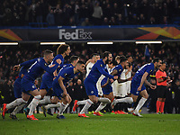 Football - 2018 / 2019 UEFA Europa League - Semi-Final, Second Leg: Chelsea (1) vs. Eintracht Frankfurt (1)<br /> <br /> Chelsea celebrate after their 4-3 penalty shoot out victory after the scores finished 1-1 after extra time, at Stamford Bridge.<br /> <br /> COLORSPORT/ASHLEY WESTERN