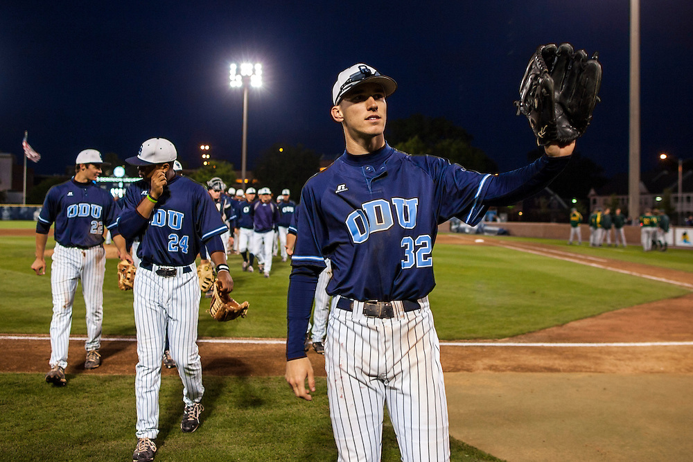 May 3, 2013; Norfolk, VA; ODU Monarchs right fielder Ben Verlander (32) waves to the crowd after the game against the George Mason Patriots at the Bud Metheny Baseball Complex . Mandatory Credit: Peter Casey-USA TODAY Sports