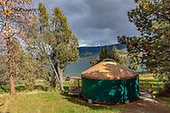 Yurts at Big Arm State Park along Flathead Lake in Big Arm, Nontana, USA