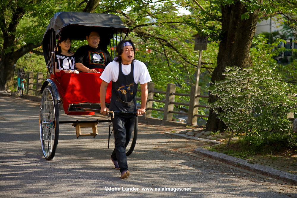 Takayama Rickshaw - more for a photo opportunity than for real transportation  these days rickshaws are pulled by Japanese university students as a part-time job, rather than a tough blue collar ordeal for the working class.
