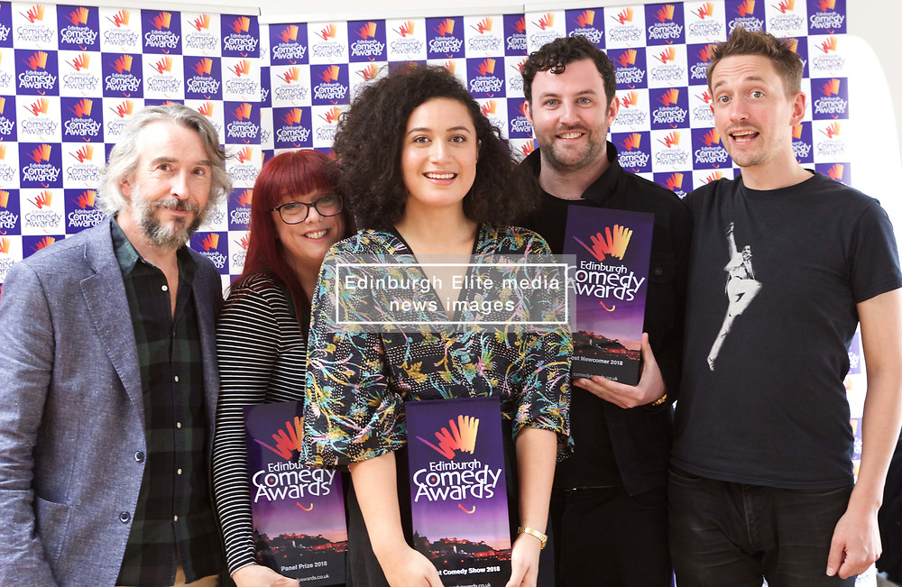 New Zealander Rose Matafeo winner of the £10,000 prize for Best Comedy Show at the 2018 Edinburgh Comedy Awards with Steve Coogan, Angela Barnes of Home Safe Collective (winner of Panel Prize), Ciaran Dowd (winner of Best Newcomer) and John Robins (2017 co-winner of best show). Pic copyright Terry Murden @edinburghelitemedia