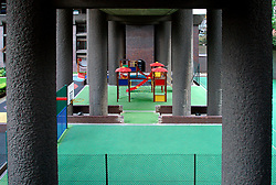 UK ENGLAND LONDON 19JUN03 - Playground on the bottom level of the Barbican Estate, Barbican, City of London...jre/Photo by Jiri Rezac..© Jiri Rezac 2003..Contact: +44 (0) 7050 110 417.Mobile:  +44 (0) 7801 337 683.Office:  +44 (0) 20 8968 9635..Email:   jiri@jirirezac.com.Web:     www.jirirezac.com