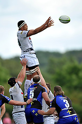 Ben Glynn (Bristo) wins lineout ball - Photo mandatory by-line: Patrick Khachfe/JMP - Mobile: 07966 386802 17/08/2014 - SPORT - RUGBY UNION - Bristol - Clifton Rugby Club - Bristol Rugby v Newport Gwent Dragons - Pre-Season Friendly