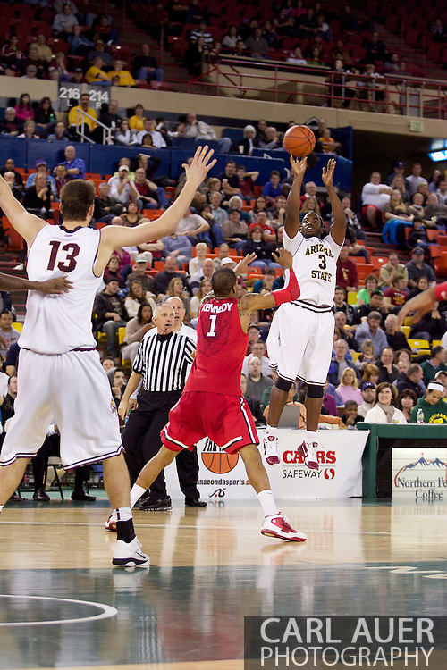 November 27th, 2010:  Anchorage, Alaska - Sun Devil senior guard Ty Abbott (3) elevates for a three point shot attempt in Arizona State's 58-67 loss to St. John's in the championship game of the Great Alaska Shootout.