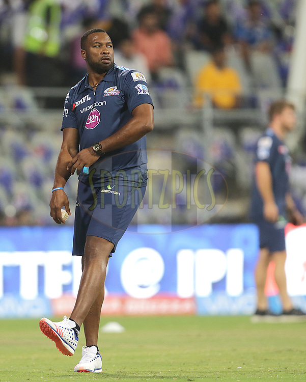 Kieron Pollard of Mumbai Indians before the match  during match 1 of the Vivo Indian Premier League ( IPL ) 2016 between the Mumbai Indians and the Rising Pune Supergiants held at the Wankhede Stadium in Mumbai on the 9th April 2016<br /> <br /> Photo by Rahul Gulati/ IPL/ SPORTZPICS