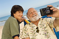 Boy and Grandfather Taking Picture