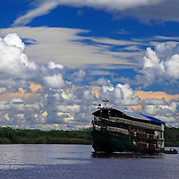 South America, Peru, Amazon. Boat on the Amazon, Peru.