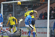 Simon Eastwood makes another save during the EFL Sky Bet League 1 match between Rochdale and Oxford United at Spotland, Rochdale, England on 16 December 2017. Photo by Daniel Youngs.
