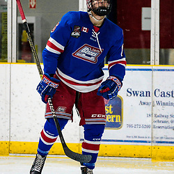 COCHRANE, ON - MAY 1: Nicholas Aromatario #6 of the Oakville Blades skates towards the play on May 1, 2019 at Tim Horton Events Centre in Cochrane, Ontario, Canada.<br /> (Photo by Christian Bender / OJHL Images)