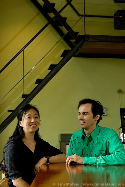 Annie Ham and Daniel Mihalyo, the architect-artist owners of Lead Pencil Studio, at their self-designed and built home and office in Seattle, Wash., on 22 May, 2007.