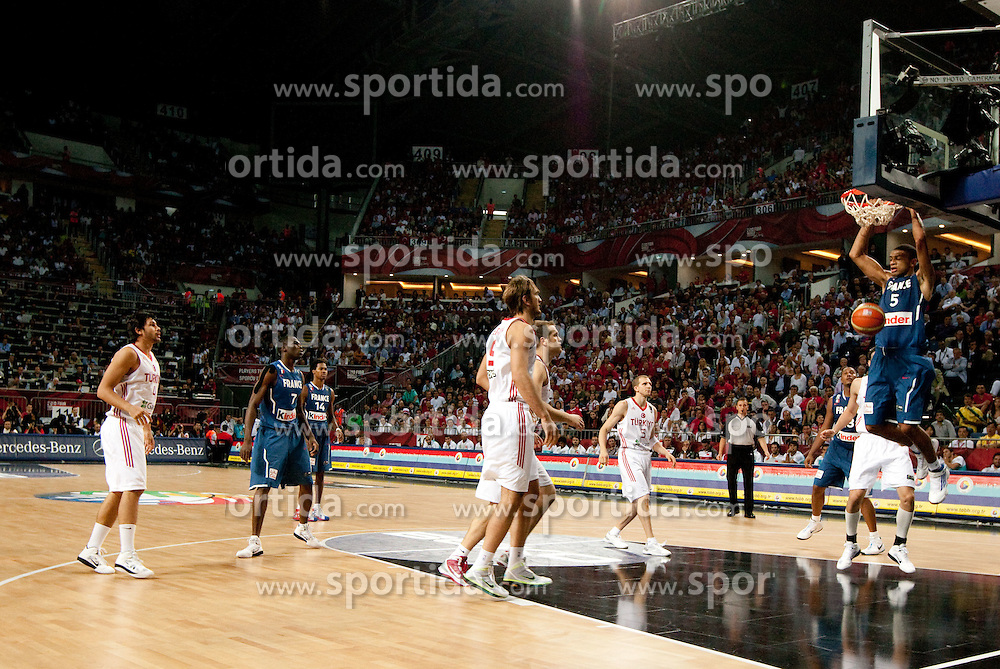 Nicolas Batum of France during  the eight-final basketball match between National teams of Turkey and France at 2010 FIBA World Championships on September 5, 2010 at the Sinan Erdem Dome in Istanbul, Turkey. (Photo By Vid Ponikvar / Sportida.com)