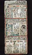 Page from Dresden Maya manuscript showing section of a 'tonalamatl', a sacred season of 260 days. God Quetalcoatl is represented to left and right, centre ferrying a woman, and bottom left with an axe.  Chromolithograph