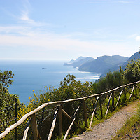 The beautiful Amalfi Coast, as seen from the hiking trail of Sentiero Degli Dei (Walk of the Gods)