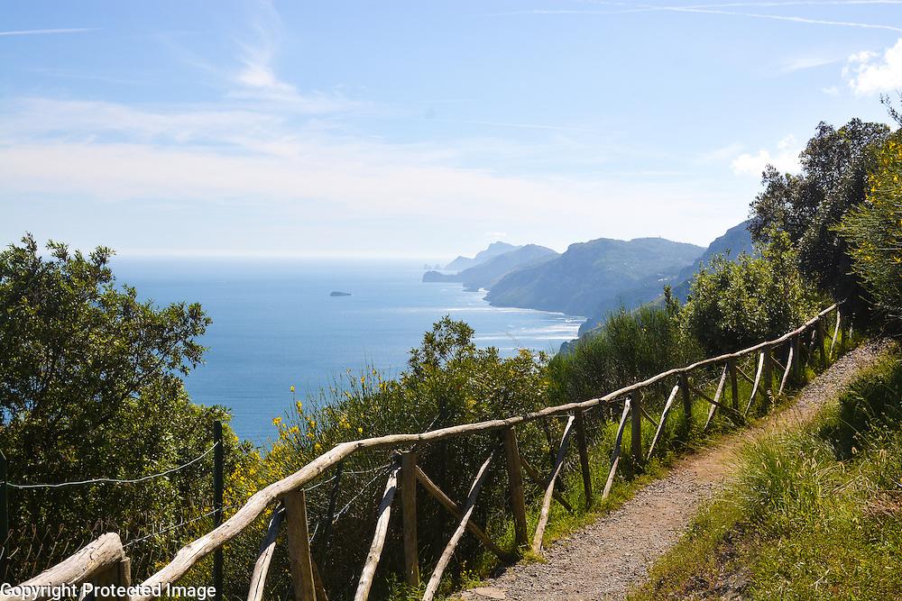 The beautiful Amalfi Coast, as seen from the hiking trail of Sentiero Degli Dei (Walk of the Gods)