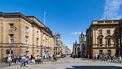View of High Court (left) and the Royal Mile (Lawnmarket) in Edinburgh Old Town, Scotland, UK