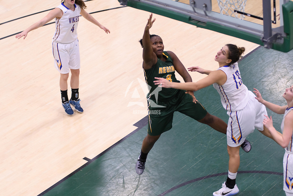 1st year guard Kyanna Giles (9) of the Regina Cougars in action during the home game on November  5 at Centre for Kinesiology, Health and Sport. Credit: Arthur Ward/Arthur Images