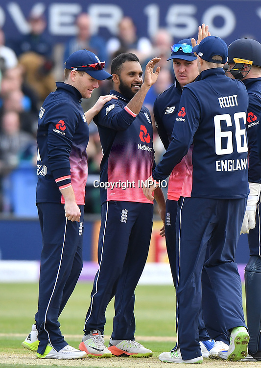 1st One Day International, Bristol Cricket Ground, England 5/5/2017<br /> England vs Ireland<br /> England's Adil Rashid celebrates taking five wickets with Eoin Morgan<br /> Mandatory Credit &copy;INPHO/Presseye/Rowland White