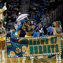 Feb 6, 2013; New Orleans, LA, USA; The Krewe of Hornets Mardi Gras parade during halftime of a game between the New Orleans Hornets and the Phoenix Suns at the New Orleans Arena. Mandatory Credit: Derick E. Hingle-USA TODAY Sports