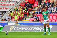 Tommaso Allan of Benetton Treviso prepares for a kick at goal<br /> <br /> Photographer Craig Thomas/Replay Images<br /> <br /> Guinness PRO14 Round 3 - Scarlets v Benetton Treviso - Saturday 15th September 2018 - Parc Y Scarlets - Llanelli<br /> <br /> World Copyright © Replay Images . All rights reserved. info@replayimages.co.uk - http://replayimages.co.uk