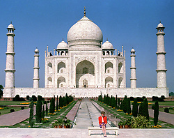 "Embargoed to 0001 Monday August 21 File photo dated 11/02/92 of Diana, Princess of Wales in front of the Taj Mahal, during a Royal tour of India. Diana, Princess of Wales was a woman whose warmth, compassion and empathy for those she met earned her the description the ""people's princess""."