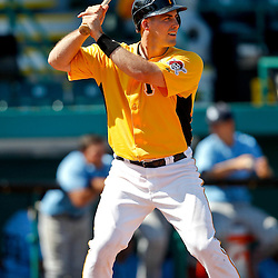 February 25, 2011; Bradenton, FL, USA; Pittsburgh Pirates outfielder Eric Fryer (80) during a spring training exhibition game against the State College of Florida Manatees at McKechnie Field. The Pirates defeated the Manatees 21-1. Mandatory Credit: Derick E. Hingle