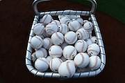 ANAHEIM, CA - APRIL 22:  A pile of baseballs fills a pitching bin prior to the Los Angeles Angels of Anaheim game against the Detroit Tigers at Angel Stadium on Wednesday, April 22, 2009 in Anaheim, California.  The Tigers defeated the Angels 12-10.  (Photo by Paul Spinelli/MLB Photos via Getty Images)
