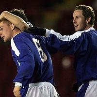 Clyde v St Johnstone..22.03.05<br />Stevie McManus celebrates goal with Kieran McAnespie<br /><br />Picture by Graeme Hart.<br />Copyright Perthshire Picture Agency<br />Tel: 01738 623350  Mobile: 07990 594431