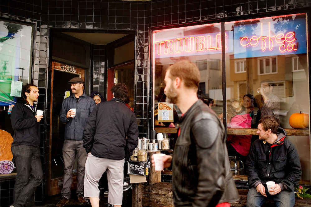 A busy Trouble Coffee cafe in San Francisco's far western neighborhood, the Outer Sunset, on Sunday, Oct. 24, 2010.
