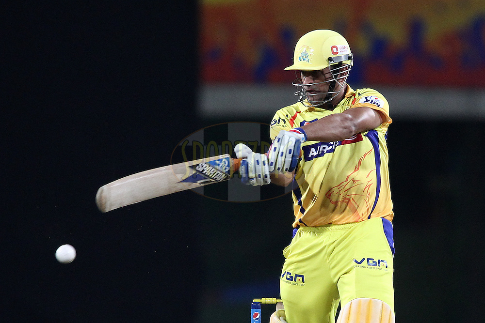 MS Dhoni captain of The Chennai Super Kings slaps a delivery through the covers during match 21 of the Pepsi Indian Premier League Season 2014 between the Chennai Superkings and the Kolkata Knight Riders  held at the JSCA International Cricket Stadium, Ranch, India on the 2nd May  2014<br /> <br /> Photo by Shaun Roy / IPL / SPORTZPICS<br /> <br /> <br /> <br /> Image use subject to terms and conditions which can be found here:  http://sportzpics.photoshelter.com/gallery/Pepsi-IPL-Image-terms-and-conditions/G00004VW1IVJ.gB0/C0000TScjhBM6ikg