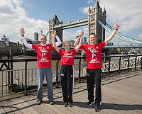 Virgin Money London Marathon 2015<br /> <br /> Photocall featuring the original winners from the first London Marathon in 1981 when the men crossed the line hand in hand to jointly win in a un precedented show of sportsmanship. <br /> (At the end of the race in 1981 the two men posed for pictures both kissing Joyce Smith.)<br /> <br /> Left to Right<br /> Dick Beardsley<br /> Joyce Smith  (Womens Winner)<br /> Inge Simonsen<br /> <br /> Photo: Bob Martin for Virgin Money London Marathon<br /> <br /> This photograph is supplied free to use by London Marathon/Virgin Money.